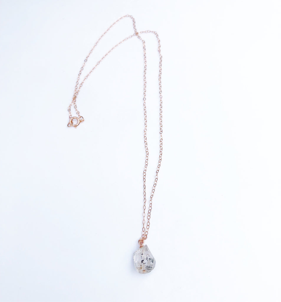 Raw Herkimer Diamond Rose gold necklace