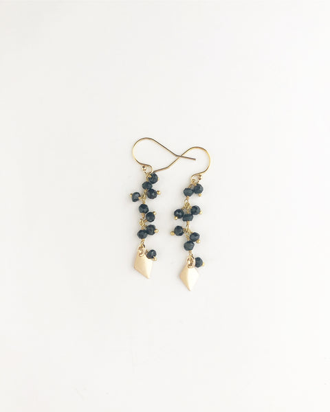 Black onyx fringe earrings