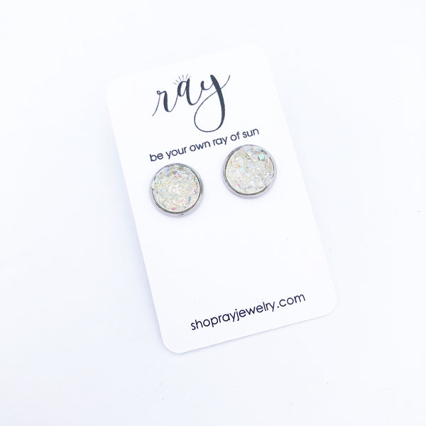 Studs - Medium size Clear Druzy studs