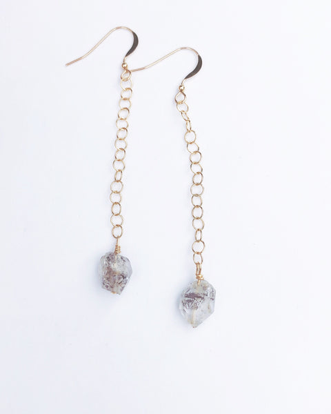 Raw Herkimer Diamond Earrings