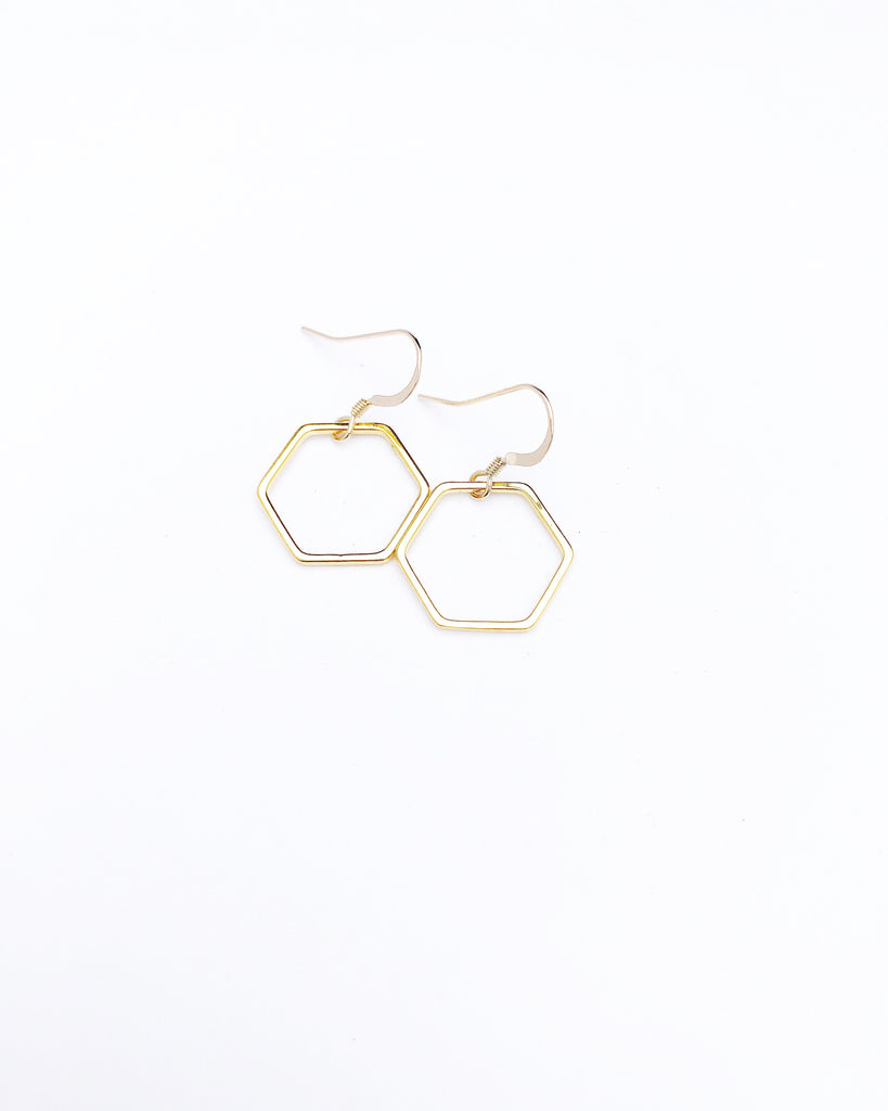 Hexagon Mini Hoop Earrings