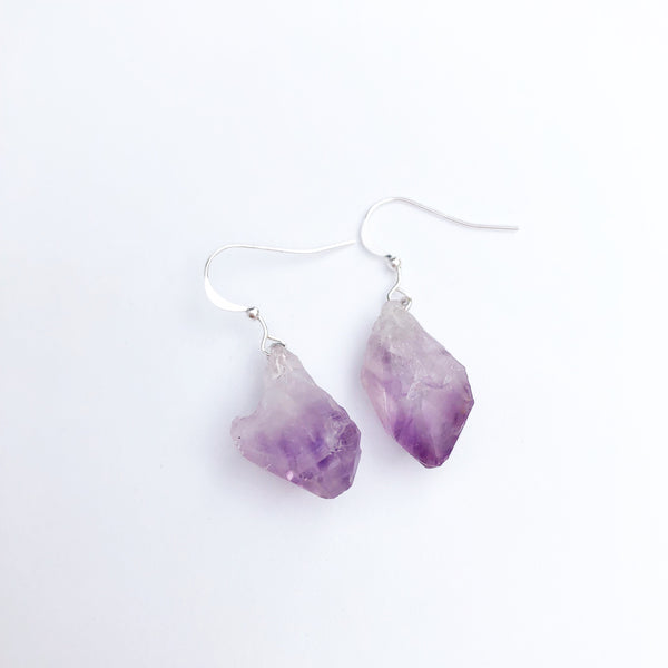 Raw Amethyst Sterling Silver Earrings