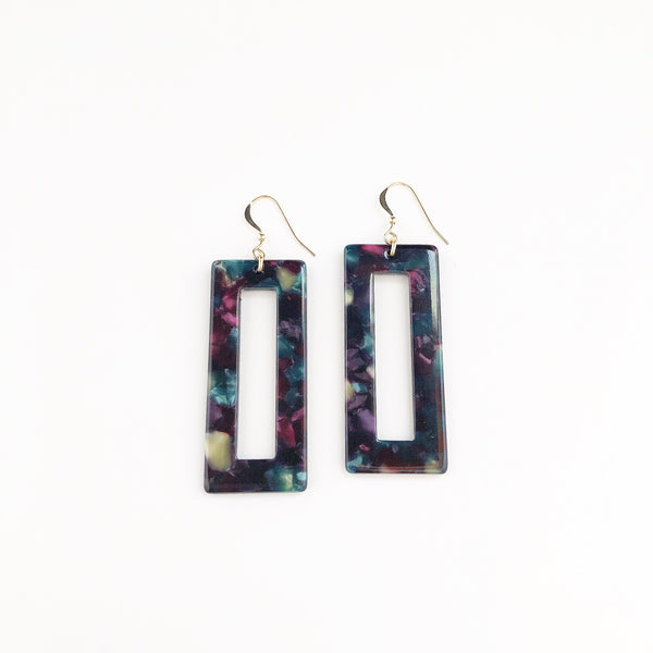 Multicolored Dark Rectangle hoop Earrings