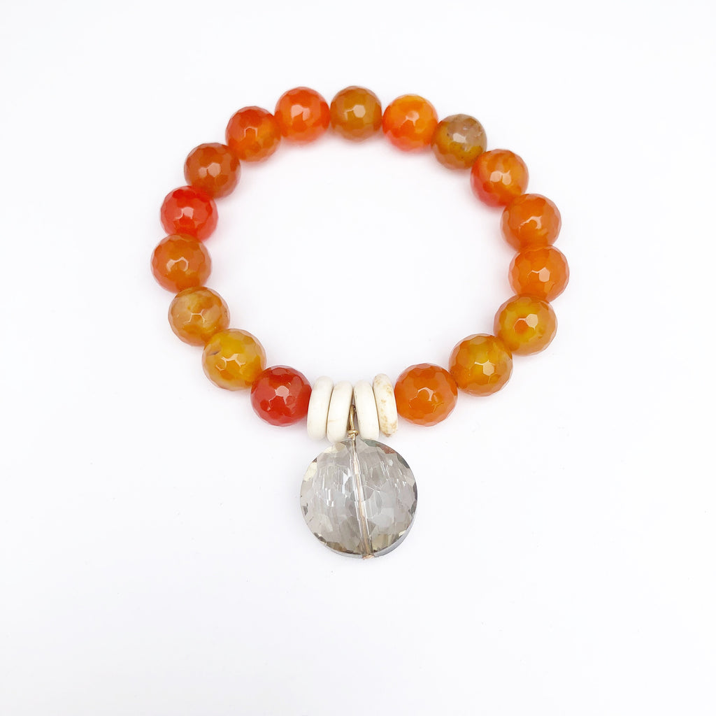Orange Fire agate + grey crystal bracelet