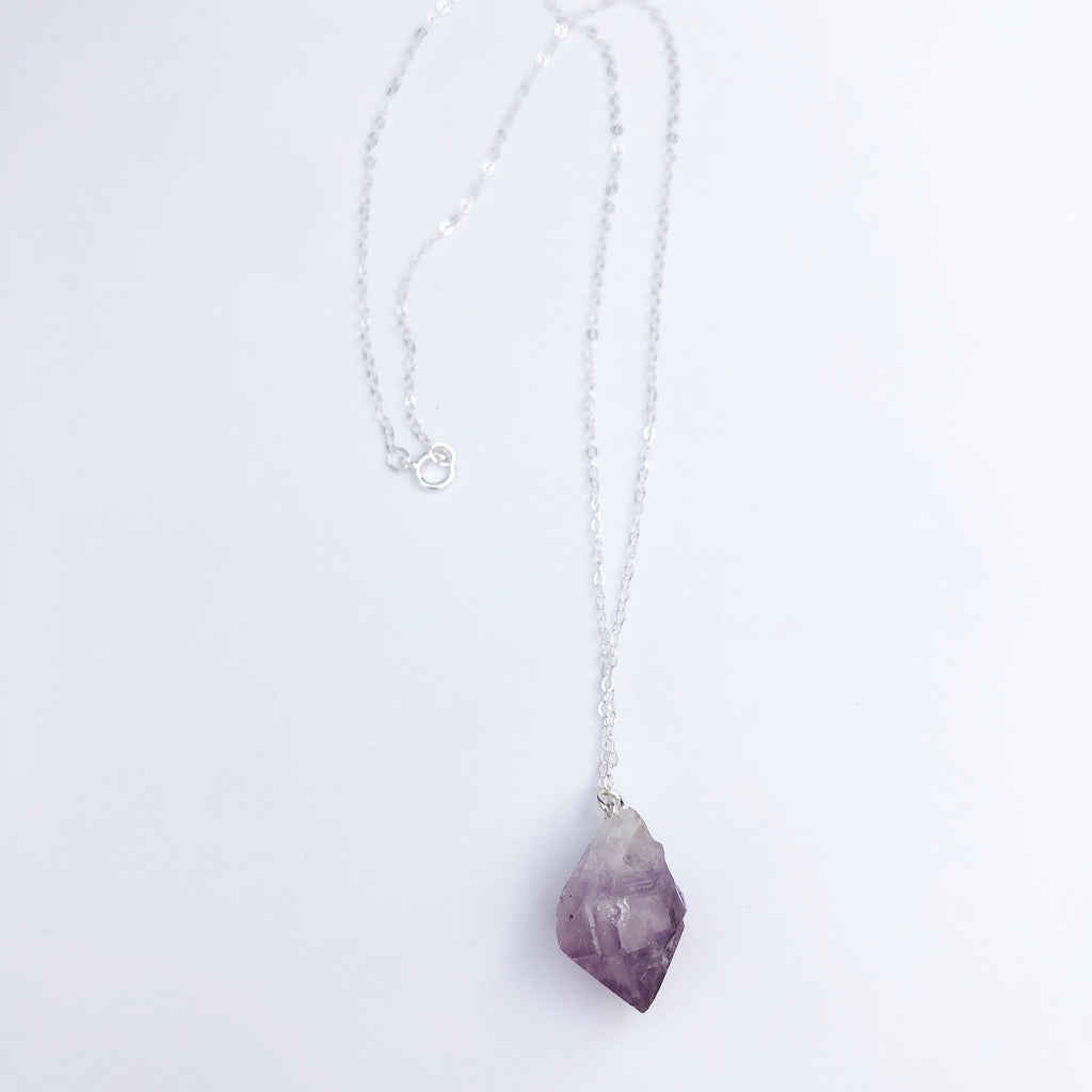 Sterling silver Raw Amethyst Necklace