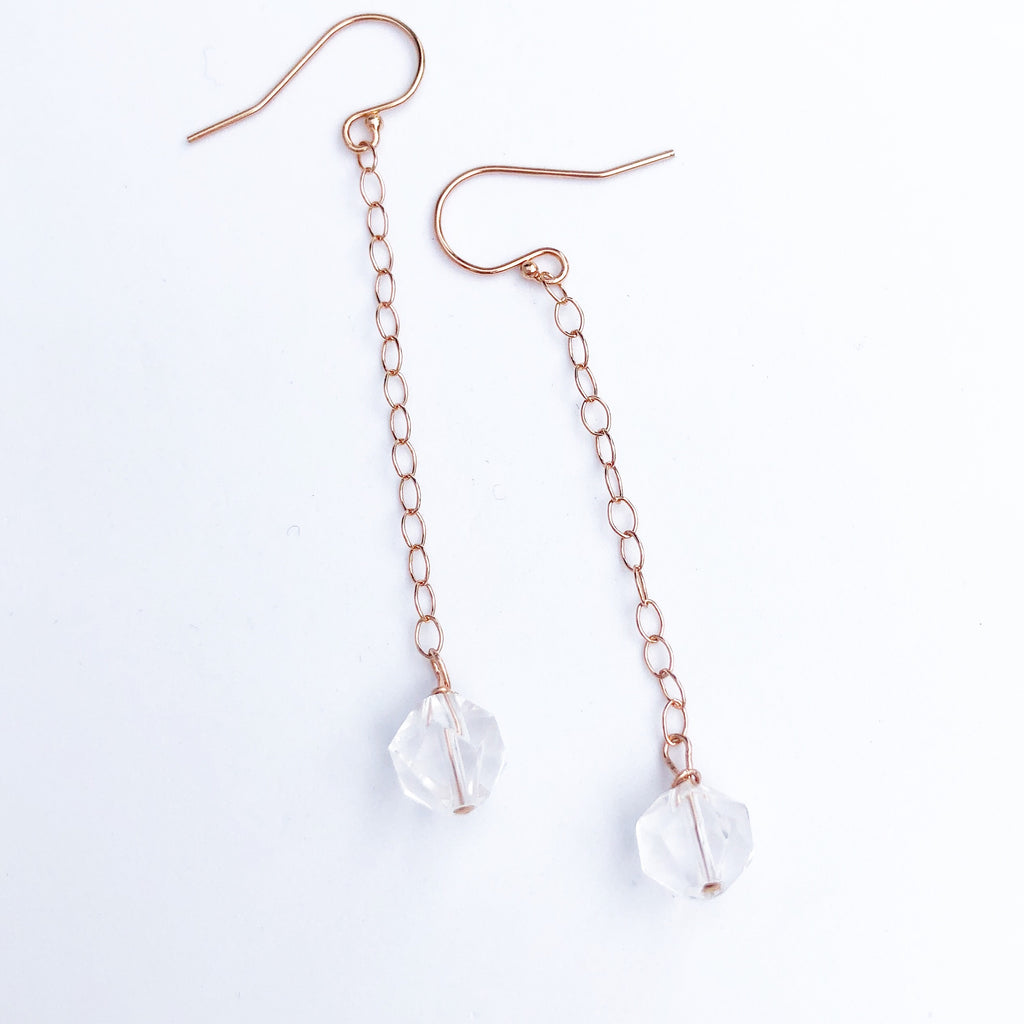 Rose gold + Raw crystal earrings