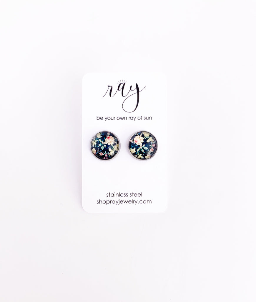 Studs - Ditsy Black Floral