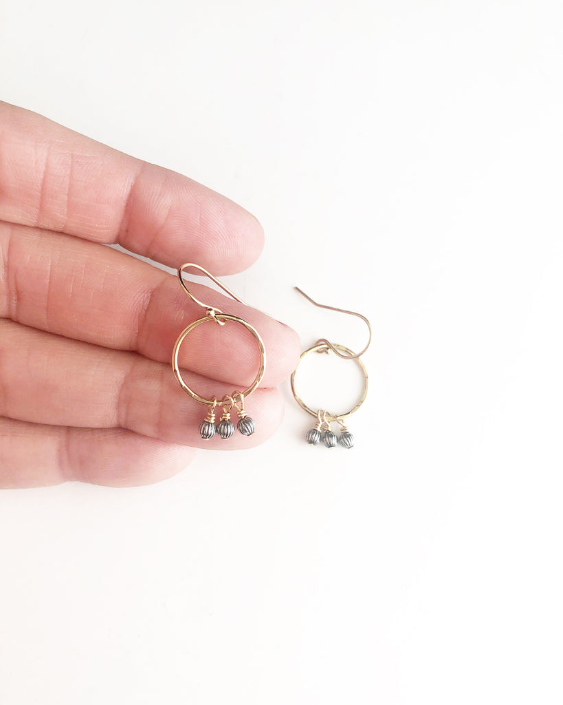 Mini hammered hoops + oxidized sterling silver beads