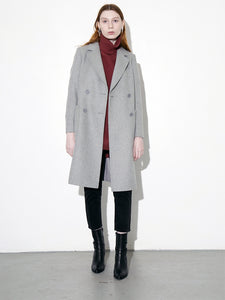 Oak Double Breasted Overcoat in Grey in Grey by Oak