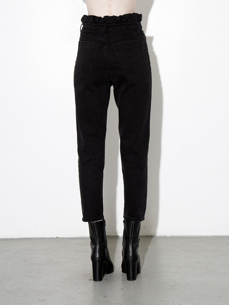 Load image into Gallery viewer, A/OK Shirred Waist Jean in Black