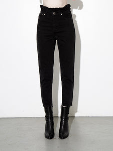 A/OK Shirred Waist Jean in Black in Black by A/OK
