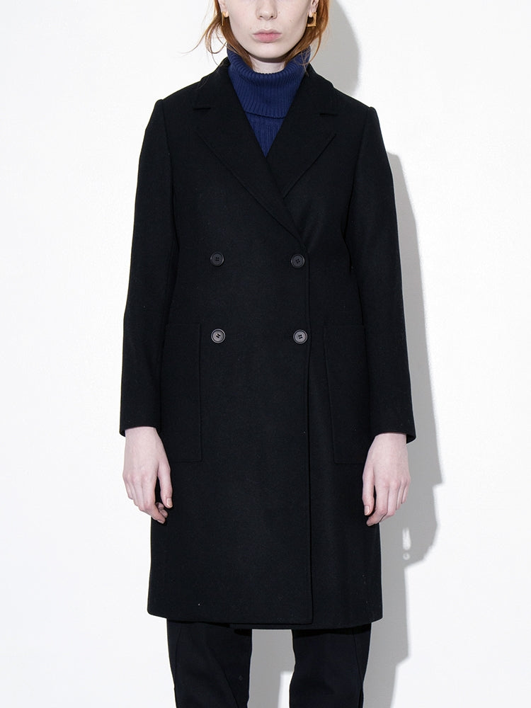 Oak Double Breasted Overcoat in Black in Black by Oak