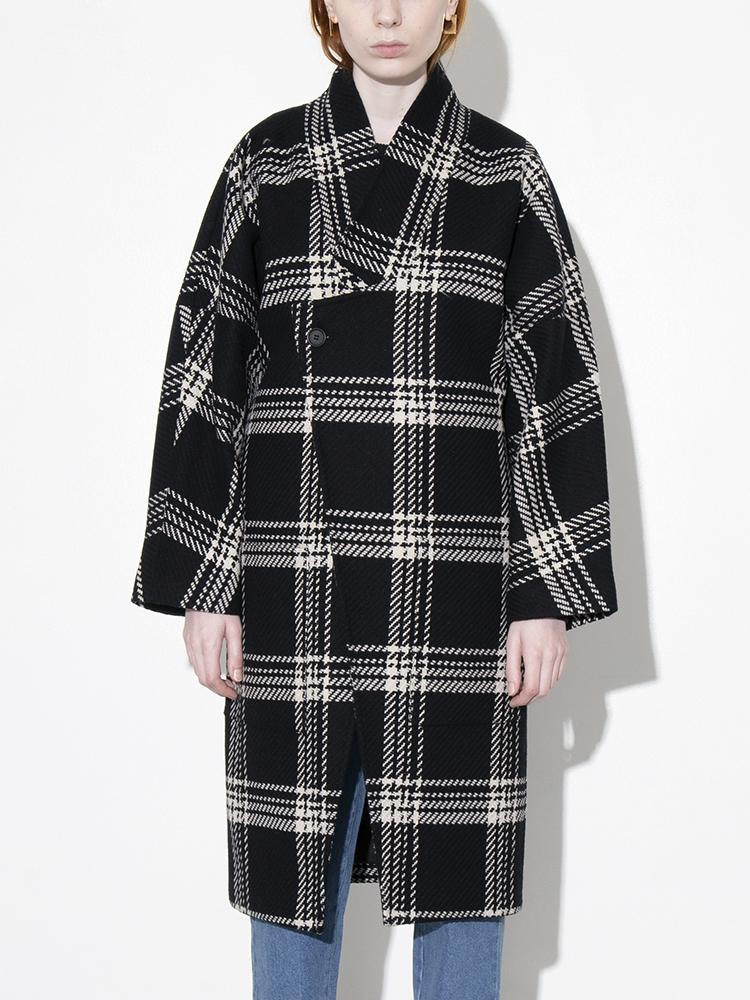 Dropped Lapel Coat in Plaid by Oak