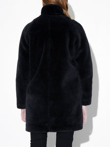 Oak Stand Collar Balmacaan Coat in Black in Black by Oak