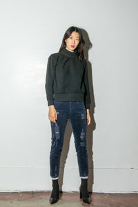 A/OK Destroyed Corduroy Pant in Midnight in Midnight by A/OK OOS