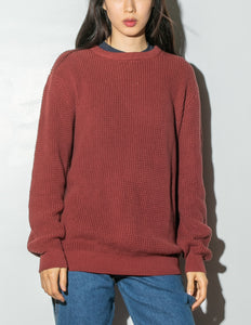 Oak Long Crewneck Sweater in Burnt Orange in Burnt Orange by Oak