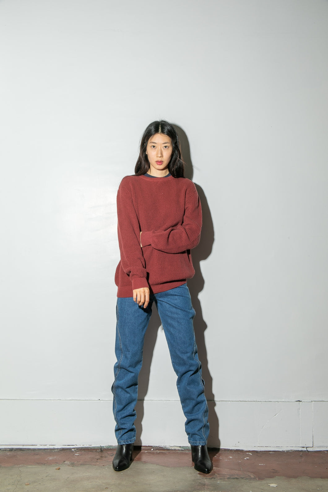 Oak Long Crewneck Sweater in Burnt Orange