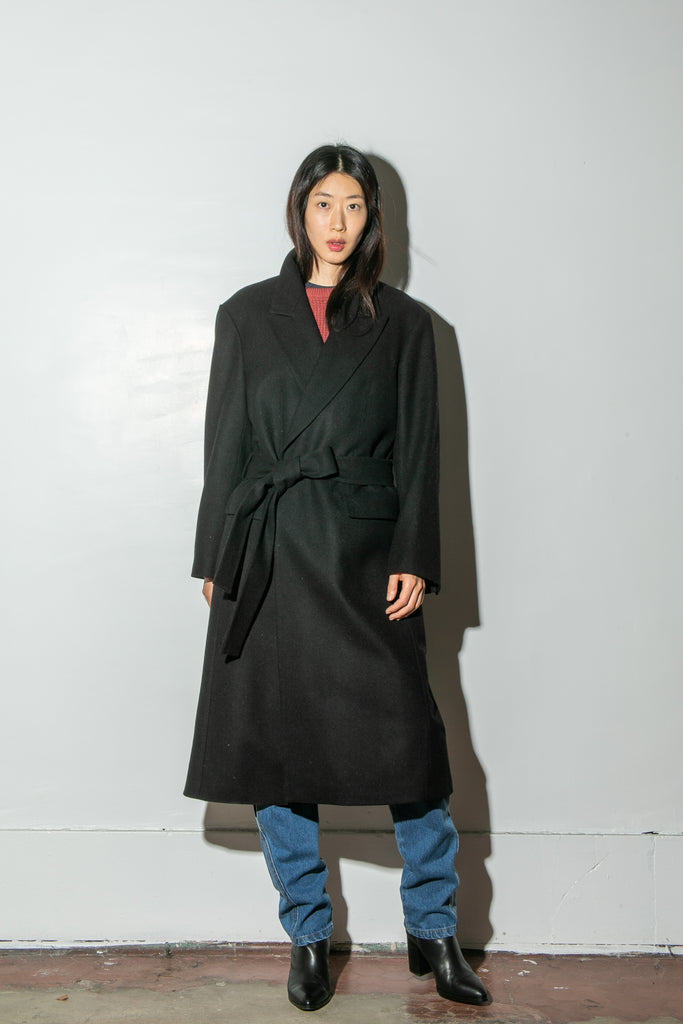 Belted Overcoat in Black by Oak