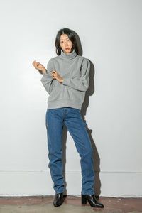 Oak Turtleneck Sweatshirt in Heather Grey in Heather Grey by Oak