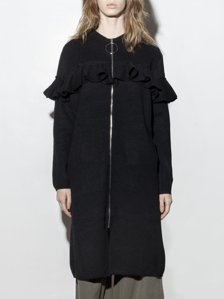 Oak Ring Zip Knit Jacket in Black in Black by A/OK