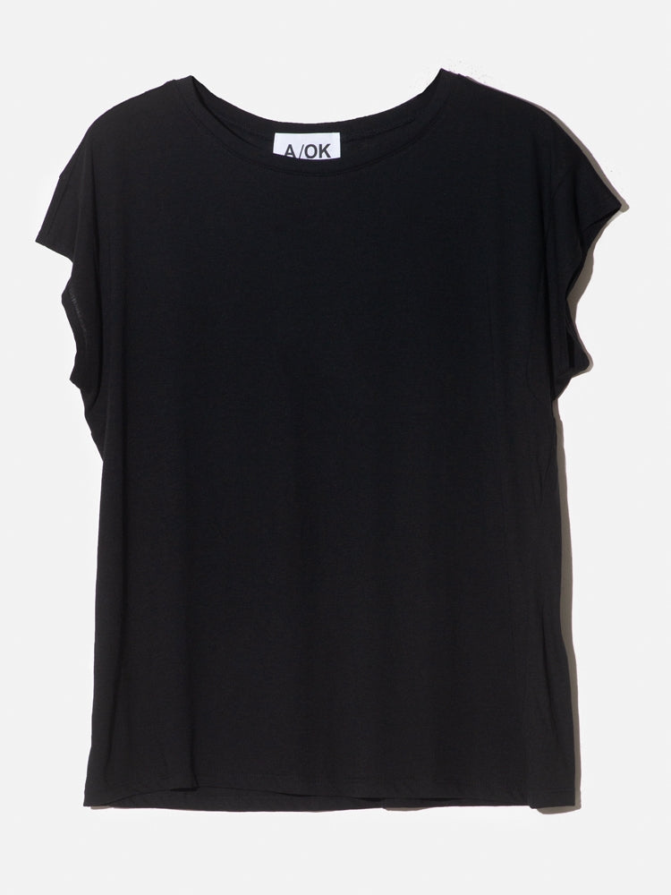 Load image into Gallery viewer, A/OK Drop Sleeve Cap Tee in Black