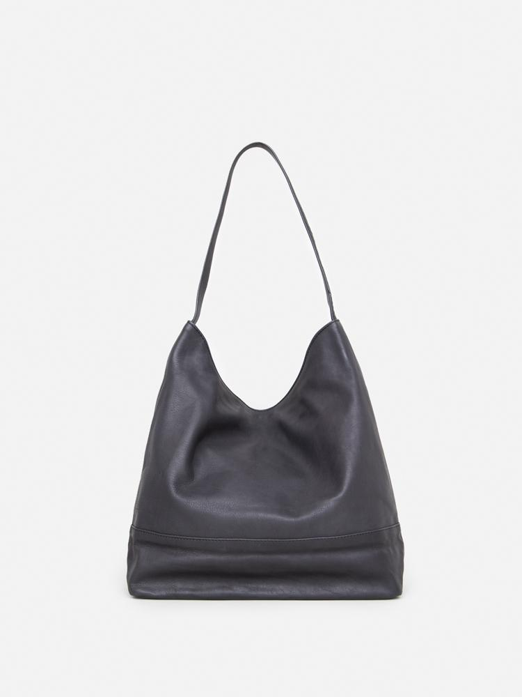 Newel Hobo Tote in Black Leather by Oak