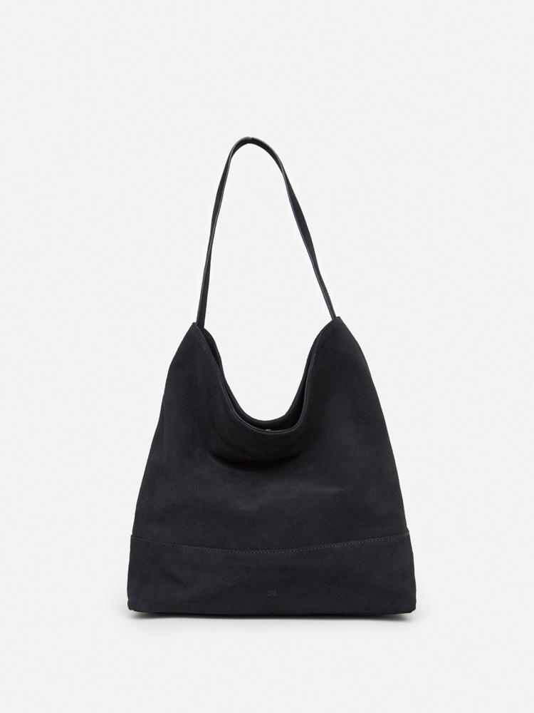 Newel Hobo Tote in Black Suede by Oak