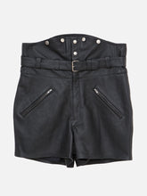 Load image into Gallery viewer, Black Leather Biker Short by Oak