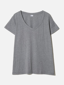 Oak Oversize V Tee In Heather Grey in Heather Grey by Oak