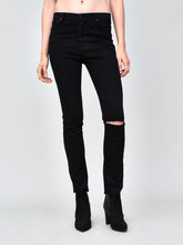 Load image into Gallery viewer, Mid Slim Jean in Black with slash by OAK
