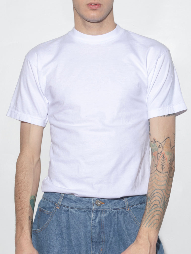 Mock Neck Tee in White by Oak