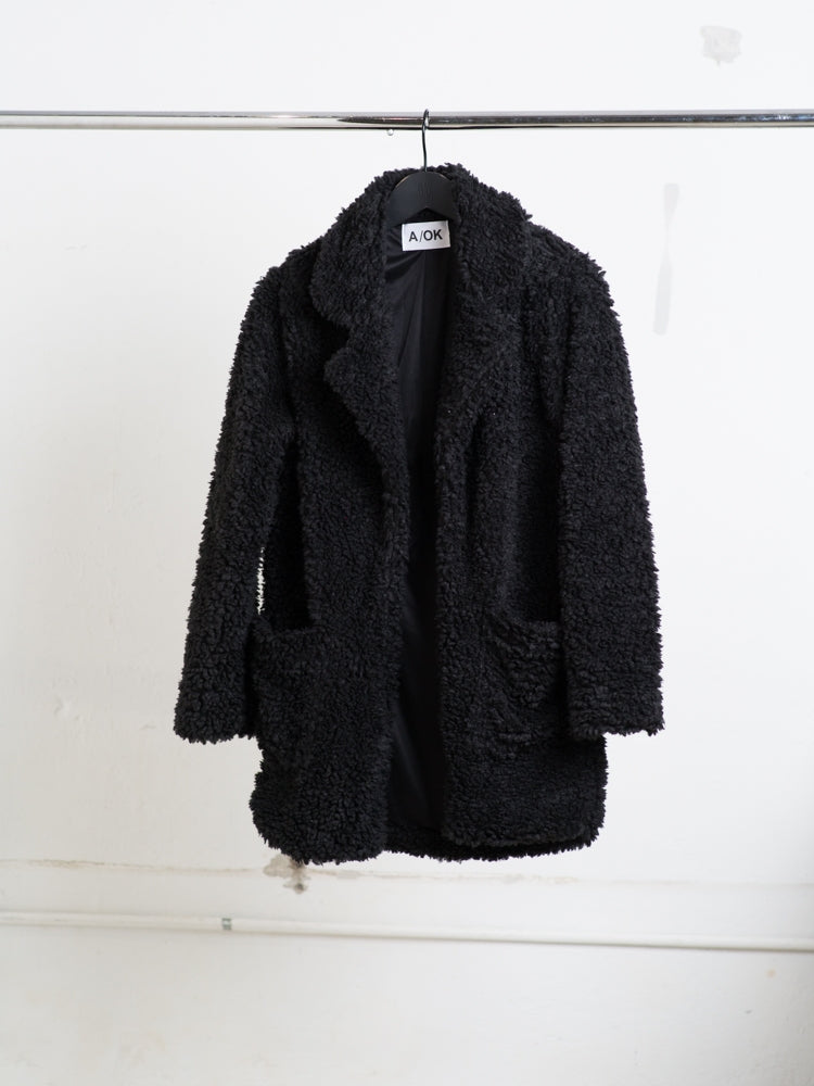 A/OK faux Shearling Jacket in black