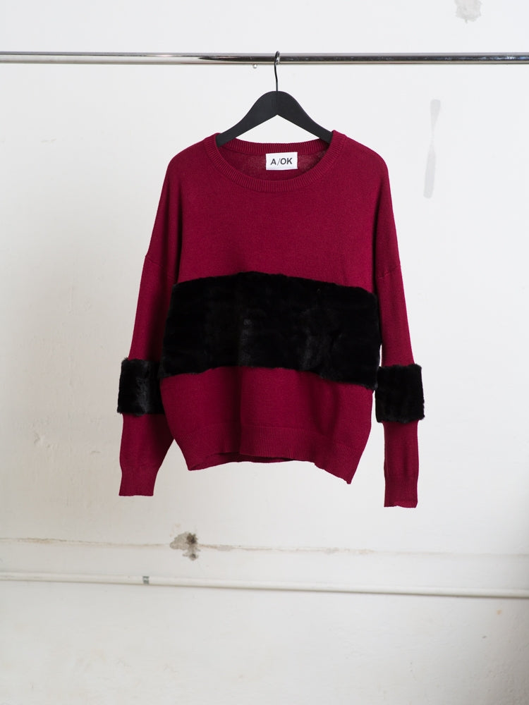 Load image into Gallery viewer, A/OK Wide Contrast Stripe Sweater in Burgundy/Black