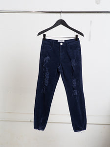 A/OK Destroyed Corduroy Pant in Midnight in Midnight by A/OK