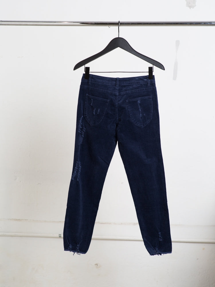 Load image into Gallery viewer, A/OK Destroyed Corduroy Pant in Midnight