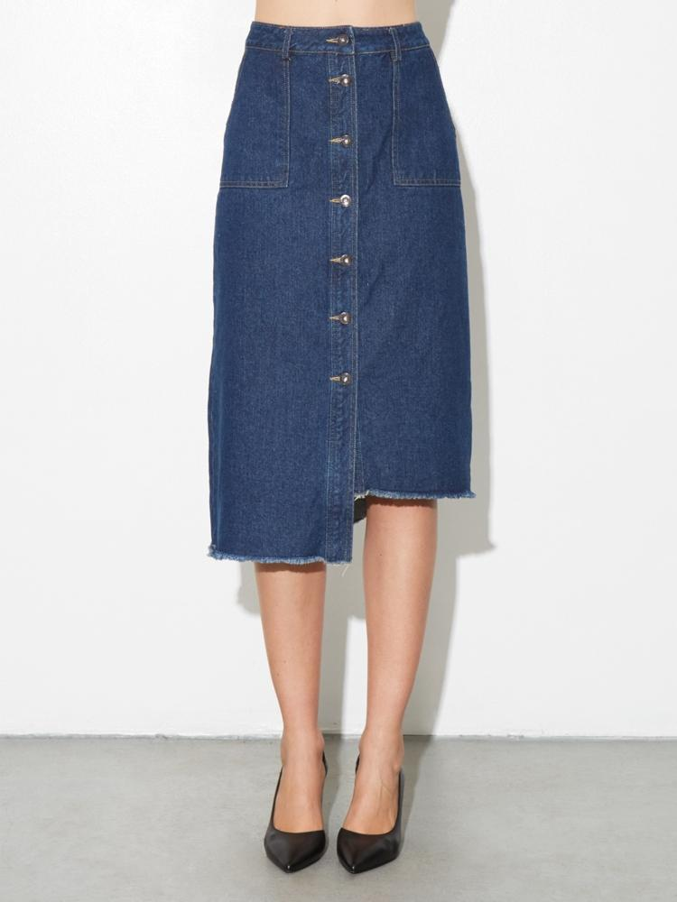 Load image into Gallery viewer, Asymmetrical Denim Midi