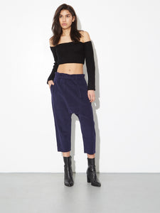 Oak Cropped Karate Pant in Midnight Cord in Midnight Cord by Oak