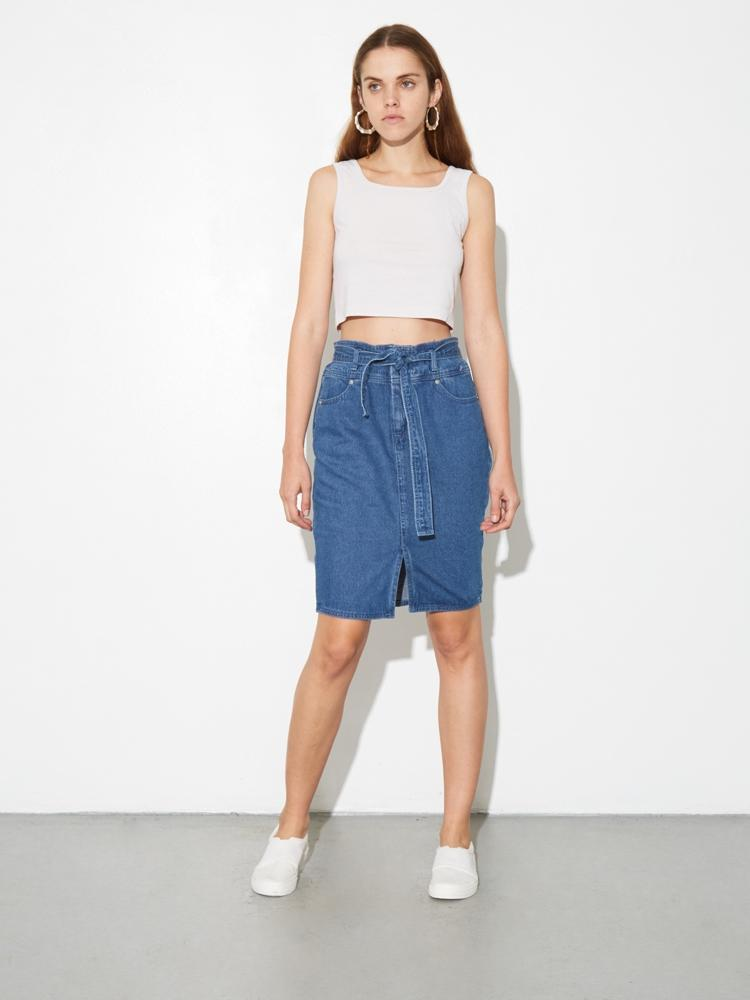 Load image into Gallery viewer, Denim Tie Skirt