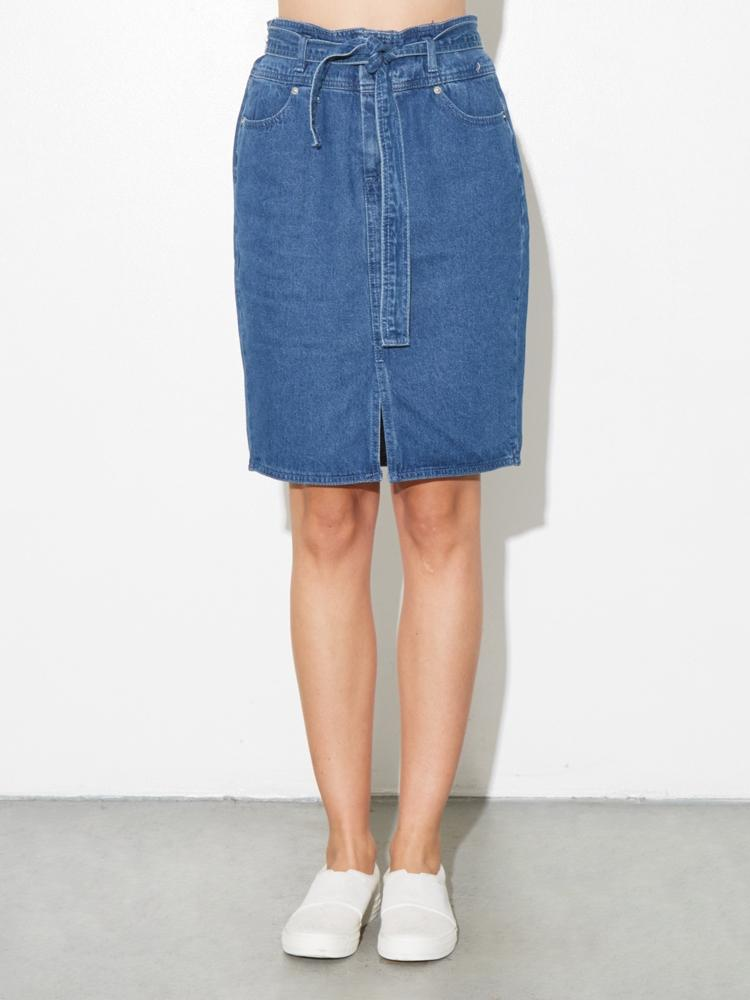 Denim Tie Skirt in Denim by A/OK