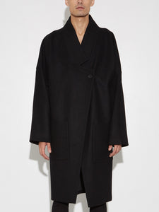 Dropped Lapel Coat in Black by Oak