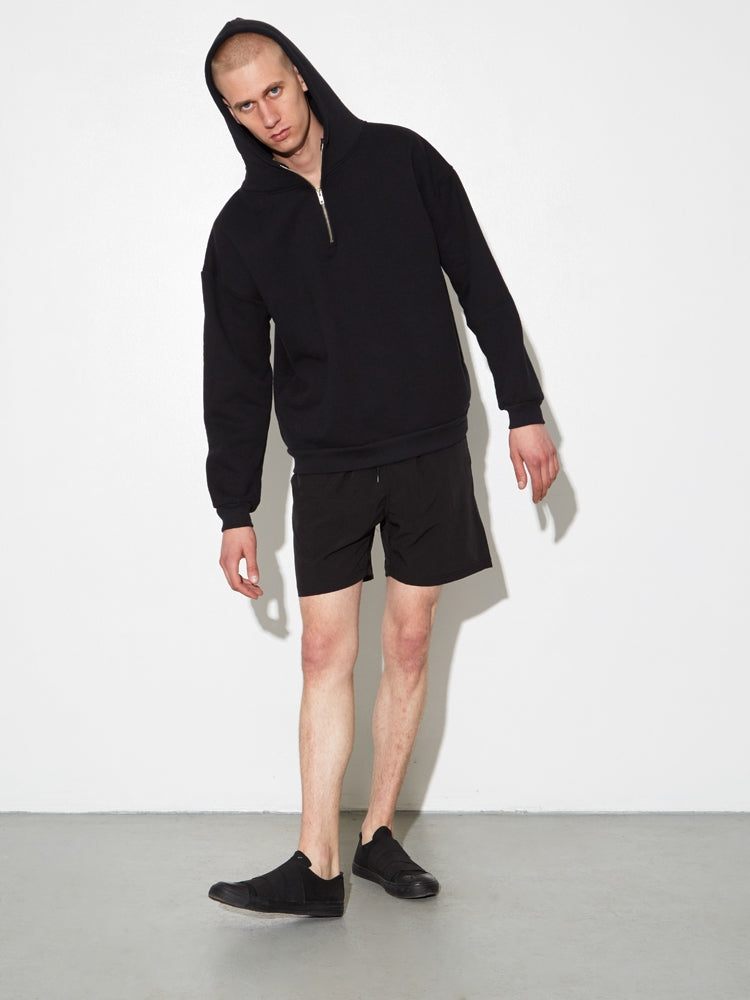 Oak Half Zip Hoodie in Black in Black by Oak
