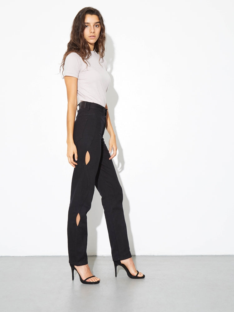 High Cut Out Jean in Black