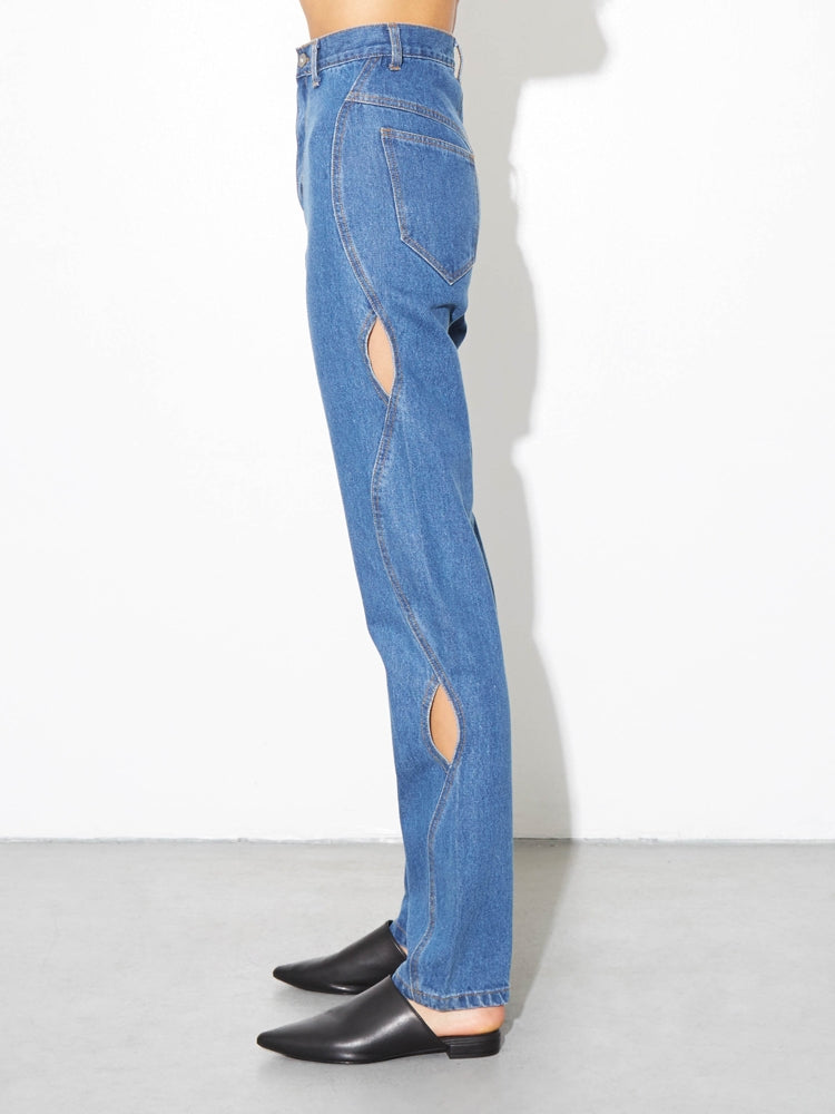 Load image into Gallery viewer, High Cut Out Jean in Indigo