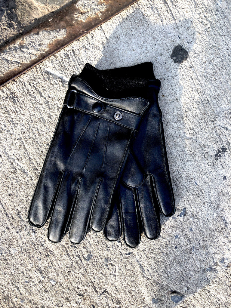 Rib Cuff Leather Glove in Black by Oak