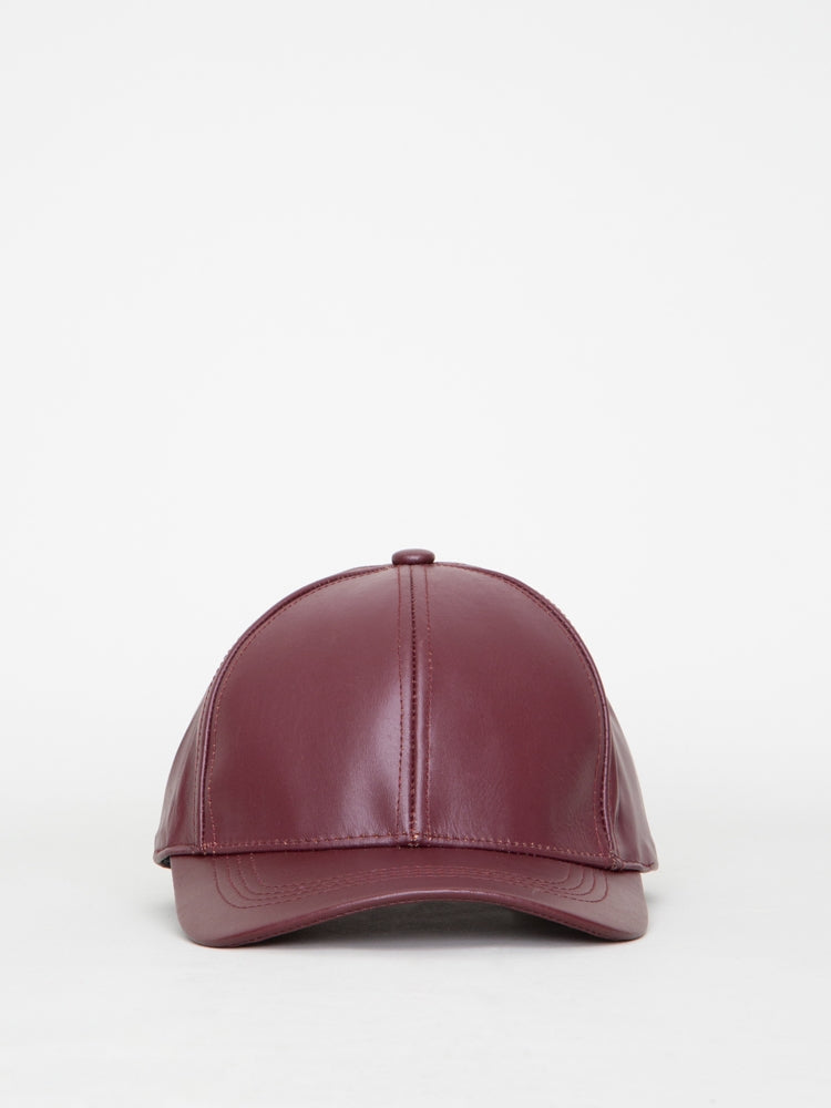 Oak Leather Ball Cap in Merlot