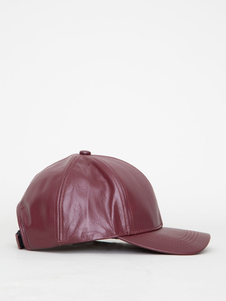 Oak Leather Ball Cap in Merlot in Merlot by Oak