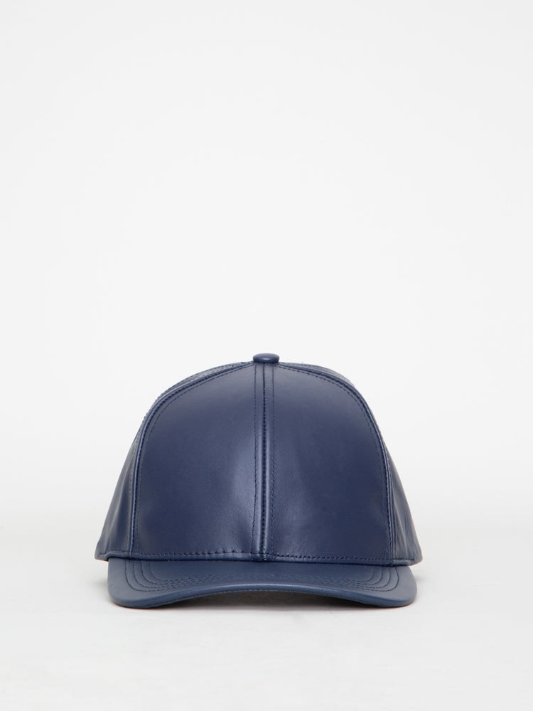 Oak Leather Ball Cap in Navy