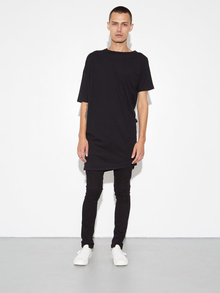 Long Drop Shoulder Tee in Black by Oak
