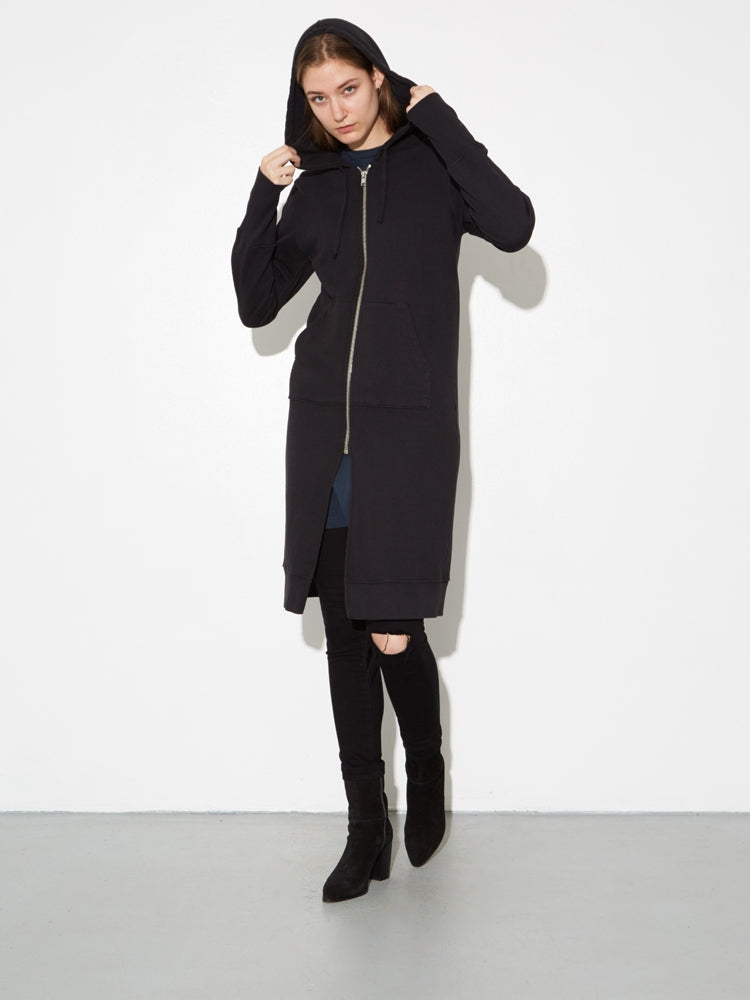 Oak Long Slouch Hoodie in Black