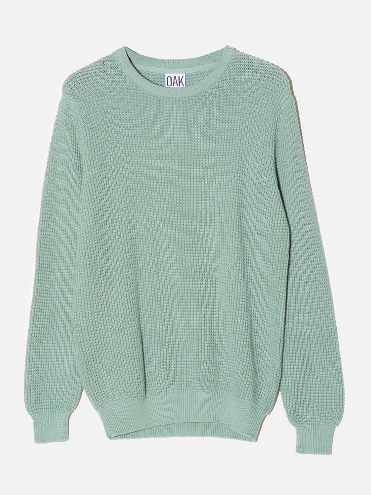 Load image into Gallery viewer, Oak Long Crewneck Sweater in Atlantic Green